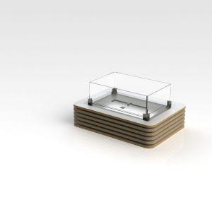 Glammfire Millwood - stolní biokrb - dubová hrana + bílé lamely