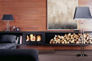 Skantherm Balance - závěsná krbová kamna, nábytek z černé oceli