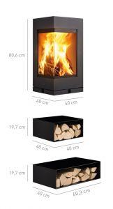 Skantherm Elements - rohová krbová kamna - rozměry elementů