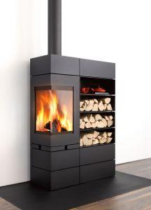 Skantherm Elements - rohová krbová kamna s integrovaným zásobníkem na dřevo