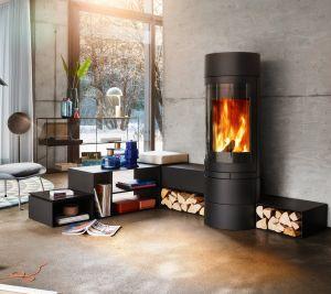 Skantherm Elements Rund - moderní designová krbová kamna kulatá se zadním odkouřením