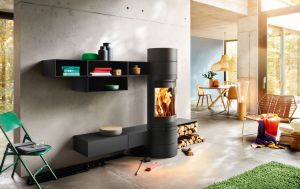 Skantherm Elements Rund - moderní designová krbová kamna kulatá se skrytým zadním odkouřením a zavěšenými elementy