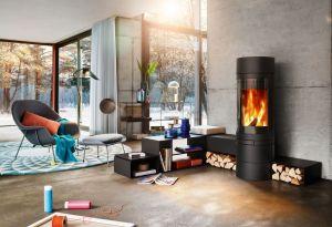 Skantherm Elements Rund - moderní designová krbová kamna kulatá