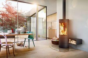 Skantherm Elements Rund - moderní designová krbová kamna kulatá s horním odkouřením