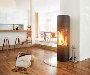 Skantherm Elements Rund - moderní designová krbová kamna kulatá - minimalistická sestava