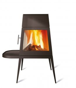 Skantherm Shaker - moderní designová krbová kamna - s krátkou lavicí