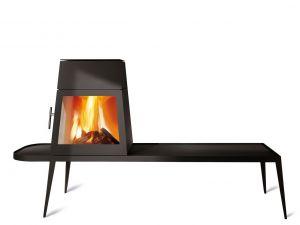 Skantherm Shaker - moderní designová krbová kamna - s dlouhou lavicí