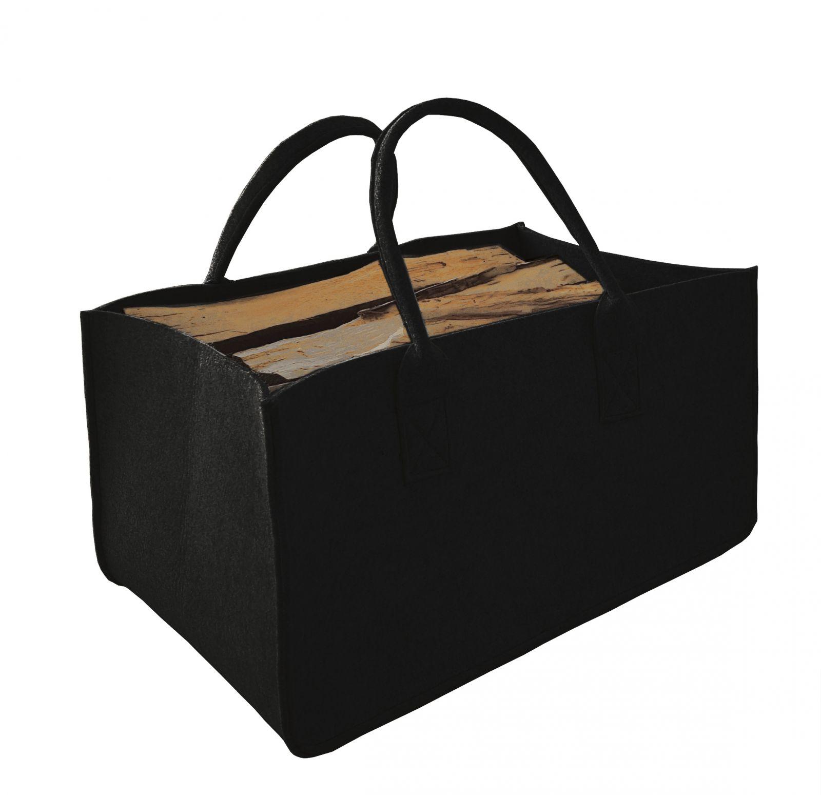 Filcová taška na dřevo, černá