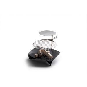Höfats Triple 90 - přenosné ohniště s grilovacím roštem a odkládací deskou na jednom stojanu