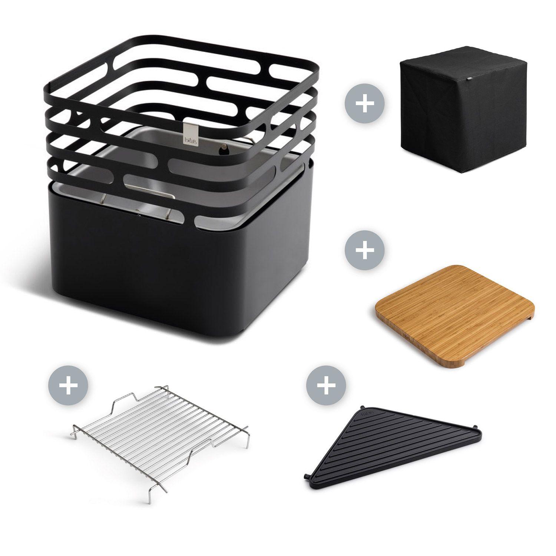 Zahradní gril a kovové ohniště Höfats Cube Black - výhodný set